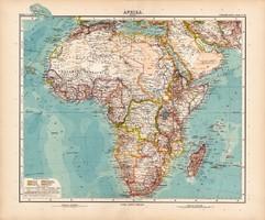 Afrika térkép 1908, német atlasz, nagy méret, 39 x 48, eredeti, Justus Perthes, politikai, Stielers