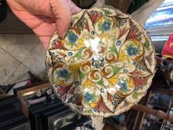 Olasz majolika, kerámia falitányér, hibátlan állapotban, 12 cm