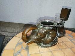 Asztali dohányzó szett, dohány kínáló Elefánt szerencsehozó felfelé emelt ormány! Üvegbetéttel!
