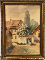 Tibai Takáts Jenő (1876-1943):Tabán c akvarell festménye EREDETI GARANCIÁVAL !