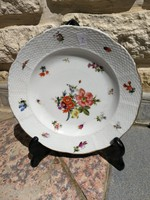 Óherendi, Fischer Mór, Tata, szép kézzelfestett porcelán tál, tányér virágmintás, kínáló!