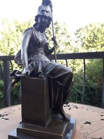 Római női harcos, lándzsával - Tekintélyes bronz szobor műtárgy
