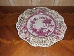 Herendi antik Indiai kosár mintás áttört tányér
