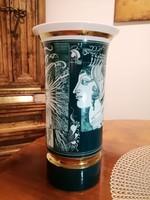 Hollóházi Szász Endre porcelán zöld váza 26 cm