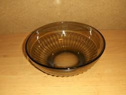Retro füstszínű üveg kínáló tál 21,5 cm (6p)