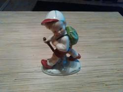 Régi Német porcelán vándor kisfiú figura.
