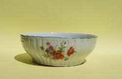 Antik Zsolnay porcelán 25 cm nagy tál pörköltes tál pipacsos búzavirág mezei virágok mintás