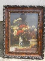 Gyönyörű Virág csendélet, barna antik keretben, olajfestmény