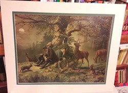 Old oil print couple humorous funny hunting scene picnic gentleman hunting deer stag rabbit dogs forest