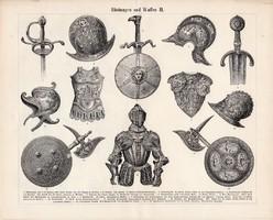 Páncél és fegyver I., II., III. (2), egyszín nyomat 1896, német, eredeti, kard, pajzs, sisak, lovagi