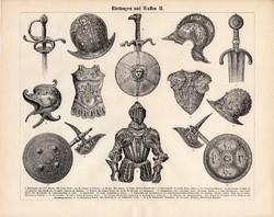 Páncél és fegyver I., II., III. (3), egyszín nyomat 1896, német, eredeti, kard, pajzs, sisak, lovagi