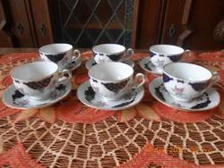 Volkstedt porcelán kávés készlet 6 sz, Echt kobalt
