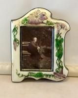 Szecessziós Ezüst Zománc képkeret Lila virágokkal, régi fotóval
