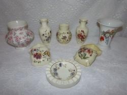 8 db Zsolnay váza, bonbonier, hamutál.
