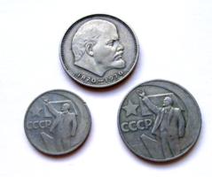 CCCP –1967-Októberi forradalom 50. évf. - 50 kopek-1 rubel -1970 -1 Rubel-100 éve született  Lenin