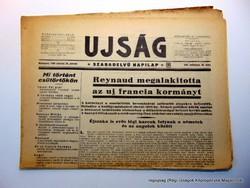 1940 3 22  /  Reynaud megalakította    /  UJSÁG  /  Szs.:  15891
