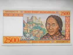 Madagaszkár 2500 francs 1995 UNC Nagyon Ritka!