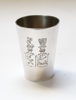 Dupla címeres esküvői ezüst kupicás pohár.