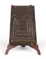 1B372 Pécsi székesegyház bronz fali dísz plakett 8.5 cm
