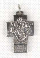 1B377 Régi olasz vallási medál kereszt Mária József és a kisjézus ábrázolással 3.5 cm