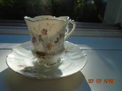 -50 % NYÁRI VÁSÁR ! 19.sz Rokokó gazdag csipkés,dombormintás, virágos csésze alátéttel ,számozott