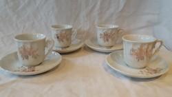 4 db aranyozott virágos drezdai porcelán kávés csésze és csészzealj