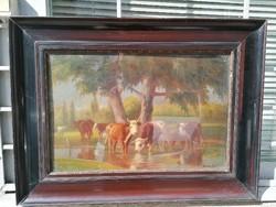 Korpács Lajos tehenes, ritkább festménye, olaj-fa