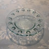 Zöld üveg tányér, tál, tálka