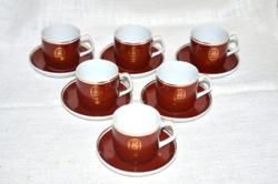Retro Orient mokkás kávés csészék és aljuk  (DBZ 0086 )