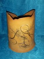 Jelzett iparművész kerámia váza 24 cm magas, átmérő 20 cm (ap)