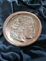Valenti / Made in Spain (jelzett) vastag réz tálka! Asztrológiai jelkép (Aries) Átmérője 12,5cm!