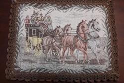Antik postakocsis gobelin terítő