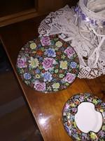 Aranyozott festett Kínai porcelán hamutál és tányér