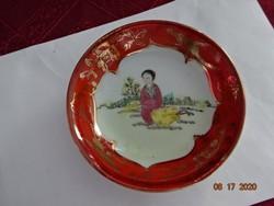 Japán porcelán mini asztalközép, átmérője 10 cm.