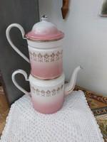 Gyönyörű ritka zománcos emeletes kávéfőző vagy teafőző, Gyűjtői szépség, paraszti dekoráció