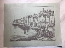 Vadász Endre (1901 - 1944) : Mediterrán város kikötő,  fametszet kékes papíron