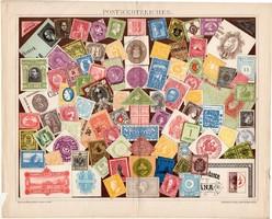 Bélyegek, litográfia 1895, német, színes nyomat, bélyeg, posta, levél, porto, XIX. század, régi