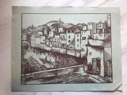 Vadász Endre (1901 - 1944) : Mediterrán városban gondolázó,  fametszet kékes papíron