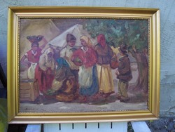 Piaci jelenet festmény eladó jelzett