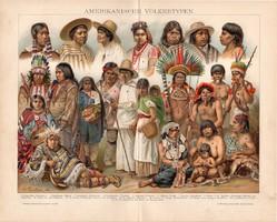 Amerikai népfajok, litográfia 1892, színes nyomat, német, Brockhaus, Amerika, indián, apacs, sziú