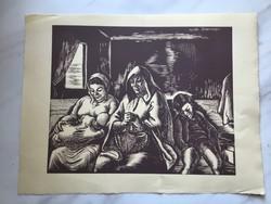 Vadász Endre (1901 - 1944): Szent család (Daumier után), fametszet sargás papíron,