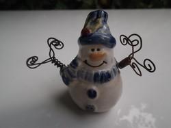 Karácsonyfadísz - Kerámia hóemberke - karja drót - Osztrák -  6 x 6 cm - hibátlan