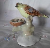 Aquincum porcelán madár és fészek (vintage / retro madárfészek nipp)