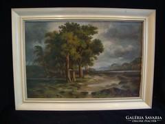 Jelzett olaj-karton festmény
