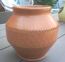 Natúr, matt mázas, írókázott hasas kaspó váza
