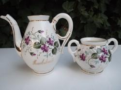 Porcelán - 2 db - antik - IBOLYÁS aranyozott - tejkiöntő 3 dl - cukortartó 2 dl- gyönyörű - hibátlan