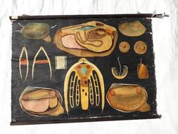 Antik 1902 - 1903 iskolai anatómiai oktató tábla - litográfia vászonra kasírozva - 99 cm x 73 cm