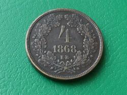 4 Krajcár 1868 KB aUNC