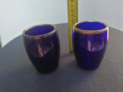Kobaltkék vastagfalu antik pohár arany tetején! Fúvott különleges darabok pàrban. Gyógyvíz, patika..