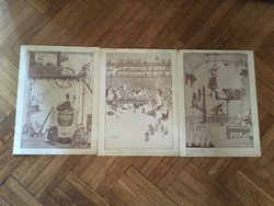 Johnnie Walker reklám plakát (3db) W. Heath Robinsontól
